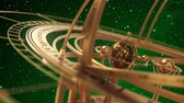 halak : Armillary Sphere On Green Background Of Starburst