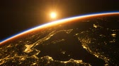 raumstation : Sunrise In Space. Amazing Night View On European Zone Of Planet Earth.