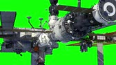 raumstation : International Space Station Orbiting Earth. Green Screen.