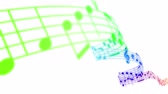 pouring : Music notes flowing in rainbow colors on white background. Seamless animation. HD 1080. Stock Footage