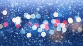 queda de neve : Close-up Snowflakes Falling Slow with Evening City Lights Blinking Seamless. Slow-Motion Looped 3d Animation. Holidays Celebration Concept. 4k Ultra HD 3840x2160 Vídeos