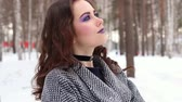 mysterious : Beautiful girl in winter forest Stock Footage
