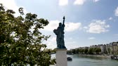 rivet : Statue of Liberty in Paris. The statue is smaller than the one in New York. It is located on a small island in the Seine. Back view. Stock Footage