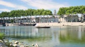 Orleans is a prefecture and commune in north-central France. Time lapse of the river Loire Loire docks in Orleans, french city.