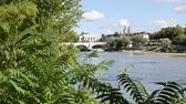 rivet : Landscape of the city of Tours, France. In the foreground, there is the Loire River and in the background, there is the oldest bridge in the city, the Bridge and the citys cathedral.