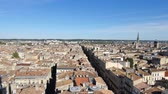 gironde : View from the Pey Berland Tower in the center of Bordeaux. Panorama on this old and pretty town in the southwest of France, in the Gironde. View on the roofs and streets.
