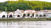 Panorama of the River Adour in Bayonne, Atlantic Pyrenees in southwestern France. View on the banks of the river.