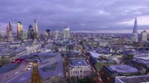 London skyline in the evening - great aerial view time lapse