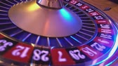выиграть : Roulette Wheel in a casino - ball on red 36 Стоковые видеозаписи