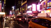 statue : Times Square New York by night Stock Footage