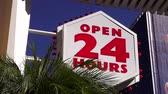 veneza : Open 24 hours sign LOS ANGELES Stock Footage
