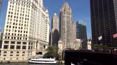estados unidos : Wrigley Building and Du Sable Bridge - CHICAGO, ILLINOIS  USA Stock Footage