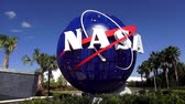 shuttle : NASA logo at Kennedy Space Center Cape Canaveral CAPE CANAVERAL, FLORIDA  USA OCTOBER 18, 2015 Stock Footage