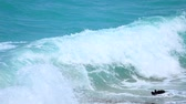summer vacation : Ocean waves on a beach in slow motion