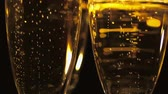 champanhe : Macro shot of Golden Champagne - pure luxury Stock Footage