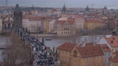 Československo : The skyline of Prague with Charles Bridge - breathtaking aerial view