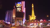 casino chips : Spectacular Las Vegas at night - driving on Las Vegas strip - USA 2017