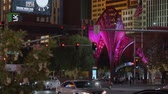 casino chips : Modern pedestrian zone at the NY NY Hotel Las Vegas by night - USA 2017
