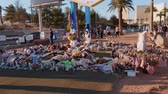 memorial : Bed of flowers as a memorial after the terror attack in Las Vegas - USA 2017