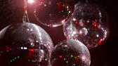 disco : Mirrorballs in a club - close up shot in slow motion
