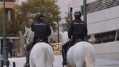 mimari : Female Police Officers on horses in Madrid Stok Video