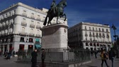 sculpture : Carlos Monument at Puerta del sol square in the center of Madrid