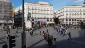 espanhol : Famous Square in Madrid city center - the Puerta del Sol Square