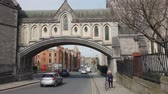 river liffey : Winetavern street Dublin at Christchurch Cathedral Stock Footage
