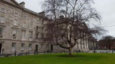 street photography : Trinity College in Dublin - famous landmark in the city Stock Footage