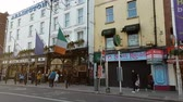 river liffey : Street view with Arlington Hotel and Bar in Dublin