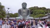 asian architecture : Most famous landmark in Kamakura - The Great Buddha Daibutsu - TOKYO  JAPAN - JUNE 12, 2018 Stock Footage