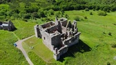 nagy britannia : The ruins Crichton Castle near Edinburgh - aerial view