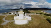 spojené království : Cromarty Lighthouse at Cromarty Firth in the Scotland - aerial view