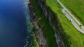 çayır : Flight along the cliffs on the Isle of Skye in Scotland - amazing drone footage Stok Video