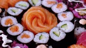 авокадо : Big Sushi selection on a plate Стоковые видеозаписи