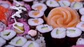 лосось : Selection of Sushi and Japanese food Стоковые видеозаписи