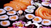 soja : Selection of Sushi and Japanese food Stock Footage