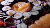 авокадо : Fresh Sushi rolls- close up shot Стоковые видеозаписи