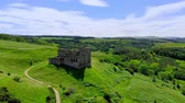 vysočina : The ruins Crichton Castle near Edinburgh - aerial view