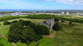 vysočina : Aerial view over Craigmillar Castle and the city of Edinburgh