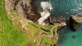 The famous Dunquin Pier near Dingle in Ireland – view from above Filmati Stock