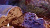 kuru üzüm : Fresh from the Christmas bakery - the traditional stollen Stok Video