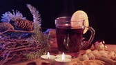 spiced : Beautiful Christmas decoration on a table with mulled wine Stock Footage