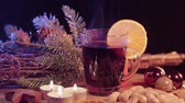 mulled : Glass of hot and spiced Christmas punch mulled wine