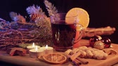 spiced : Glass of hot and spiced Christmas punch mulled wine