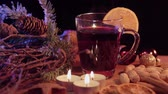 rozinky : Glass of hot and spiced Christmas punch mulled wine