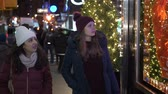 urbane : Young women in New York doing Christmas shopping on Fifth Avenue Stock Footage