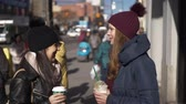 urbane : Two girls on the streets of New York on a sunny day Stock Footage