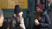 urbane : Two young women at New York subway station Stock Footage