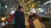 urbane : Women on Christmas shopping tour in New York
